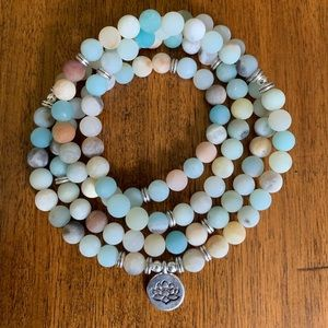 Amazonite Beads with Buddha Charm Yoga 108 Mala
